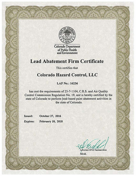 Colorado Lead Abatement Firm