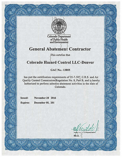 Colorado General Abatement Contractor
