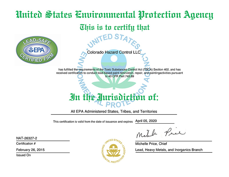 EPA Renovation Repair and Painting Certified Lead Firm
